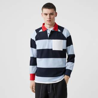 Burberry Long-sleeve Striped Cotton Piqué Oversized Polo Shirt