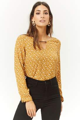 Forever 21 Ditsy Floral Chiffon Cutout Top