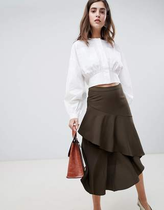 Gestuz Vermine Asymmetric Tiered Midi Skirt