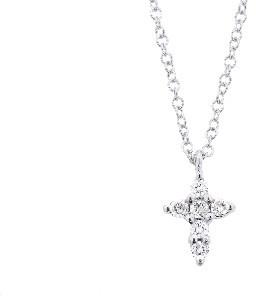 Meira T Tiny Diamond Cross Necklace - White Gold