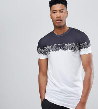 Criminal Damage T-Shirt In White With Baroque Panel Exclusive To ASOS