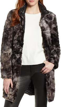 Via Spiga Reversible Faux Leopard Fur Coat