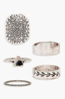 boohoo Sun Silver Ring Pack