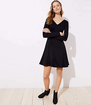 LOFT Tall Doubleface Flare Dress
