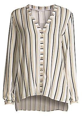 Hanro Women's Sleep& Lounge Stripe Woven V-Neck Button-Down Shirt