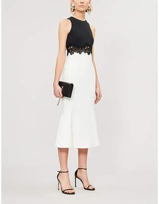 David Koma Monochrome crepe and lace dress