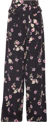 Floral-print Silk Crepe De Chine Wide-leg Pants - Black