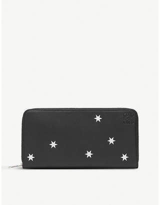 Loewe Black and Silver Stars Leather Zip Around Wallet