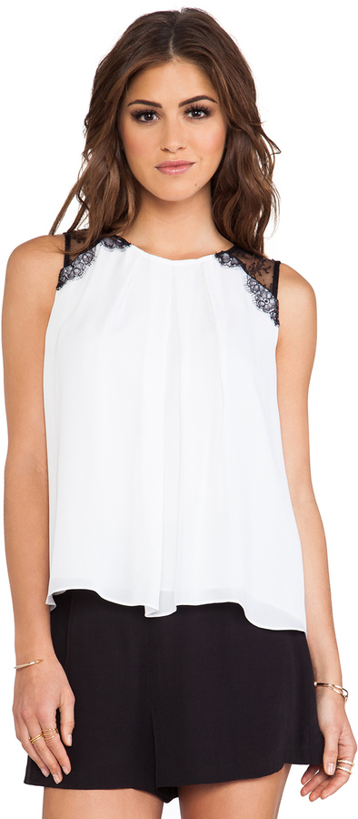 Alice + Olivia Lorretta Lace Combo Sleeveless Top