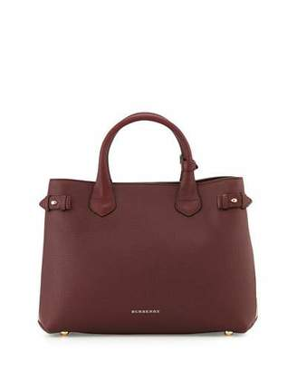 Burberry Horseshoe Leather House Check Shoulder Bag, Mahogany Red
