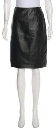 Ellen Tracy Linda Allard Leather Knee-length Skirt