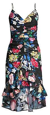 Aidan Mattox Women's Floral Burnout Ruffle Hem Cocktail Dress - Size 0