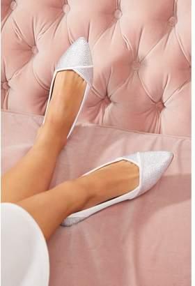 Quiz Bridal Ivory Satin Diamante Point Toe Pumps