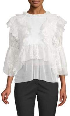 Kas Isabelle Ruffled Lace Blouse