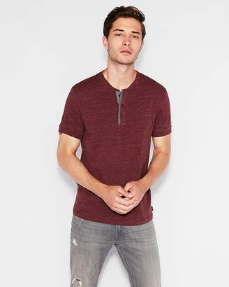 Express Wide Placket Short Sleeve Henley