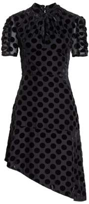 Chelsea28 Asymmetrical Velvet Dot Dress