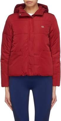 Calvin Klein Logo print hooded down puffer jacket