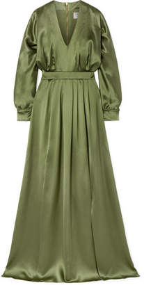 Balmain Silk-satin Gown - Army green