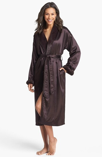 Women's Giraffe At Home Faux Fur & Satin Robe