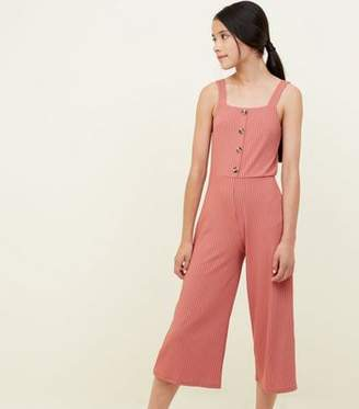 New Look Girls Coral Ribbed Button Front Jumpsuit