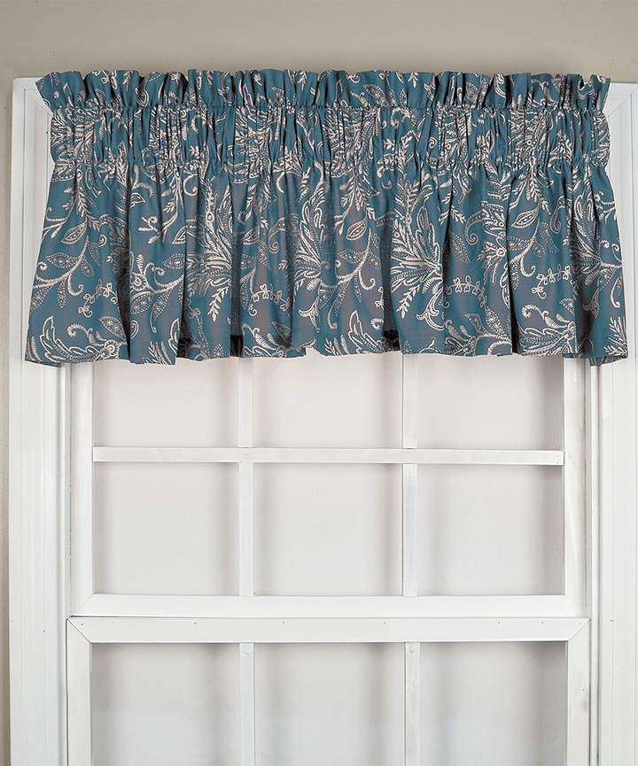 Blue Floating Leaves Tailored Valance