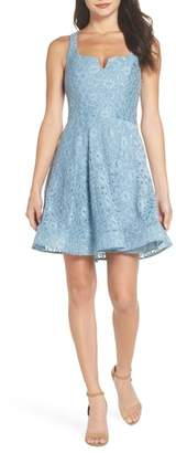 Sequin Hearts Notch Front Lace Fit & Flare Dress