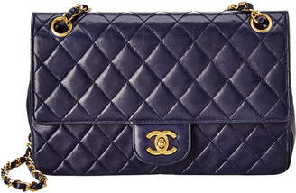 Chanel Blue Quilted Lambskin Leather Medium Double Flap Bag