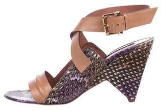 Derek Lam Snakeskin Crossover Sandals