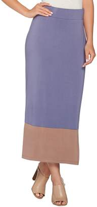 Logo By Lori Goldstein LOGO by Lori Goldstein Pull-On Color-Block Knit Maxi Skirt