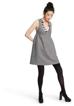 Anna Sui for Target Women's Sleeveless Metallic Boucle V-Neck Shift Mini Dress for Target Silver