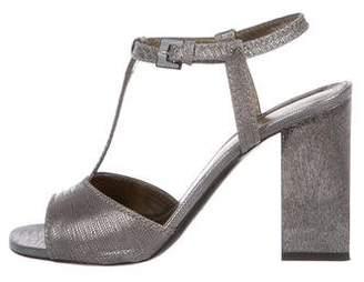 Lanvin Peep-Toe Metallic Sandals