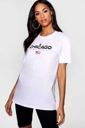 boohoo Chicago Graphic Tee Cycle Short Co-ord Set