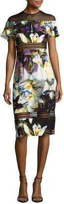 Nicole Miller Women's Sheer Floral Knee-Length Dress