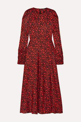 Maje Ravie Floral-print Satin Midi Dress - Red