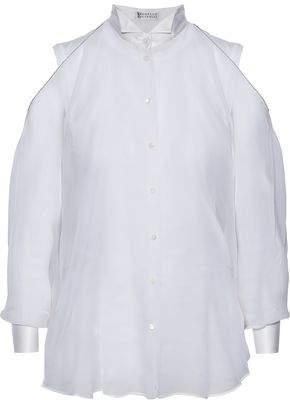 Brunello Cucinelli Bead-Embellished Satin-Trimmed Silk-Organza Shirt