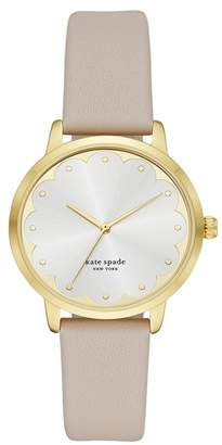 Kate Spade Women's Metro Scalloped Leather Strap Watch, 34mm