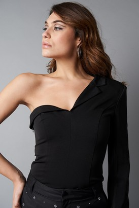 Na Kd Trend One Sleeve Asymmetric Blazer Black