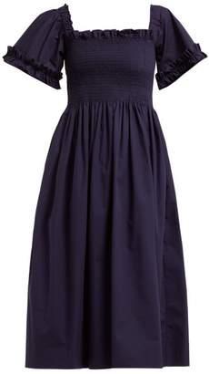Molly Goddard - Adelaide Smocked Square Neck Midi Dress - Womens - Navy