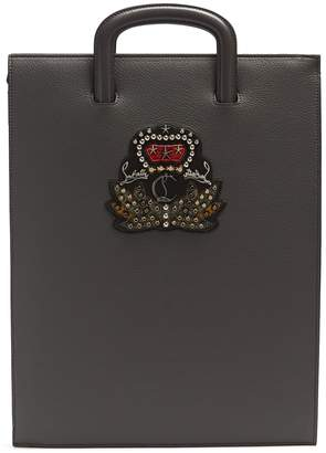 Christian Louboutin Trictrac large embellished leather document holder