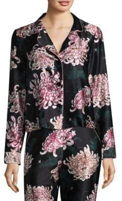 Fleur Du Mal Printed Long Sleeve Silk Pajama Top
