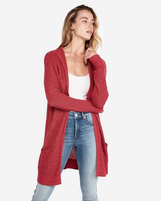 Express Petite Hooded Shaker Knit Cardigan