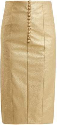 HILLIER BARTLEY Metallic buttoned faux-leather pencil skirt