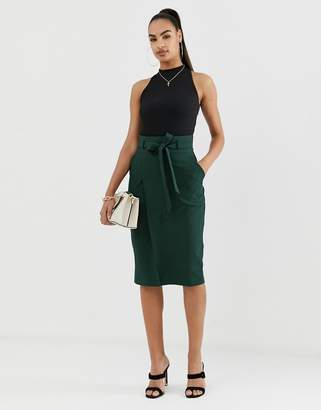 Asos Design DESIGN tailored pencil skirt with obi tie