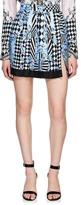 Versace Women's Harlequin-Print Pleated Silk Miniskirt