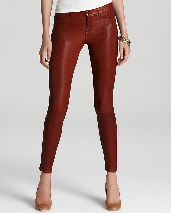 J Brand Pants - Super Skinny Leather in Cognac