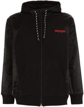 adidas By Alexander Wang Zip Up Tech & Cotton Sweatshirt Hoodie