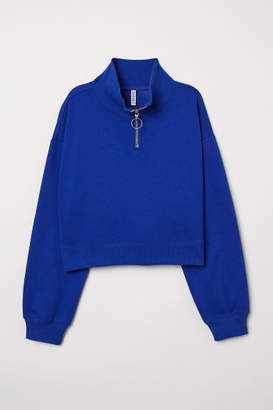 H&M Stand-up Collar Sweatshirt - Blue