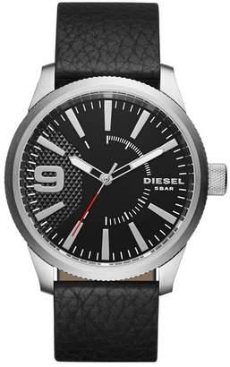 Diesel Men's Rasp Leather Strap Watch, 46mm