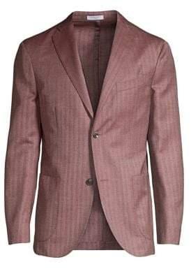 Boglioli Men's Herringbone Virgin Wool& Silk Jacket - Dusty Rose - Size 48 (38) R