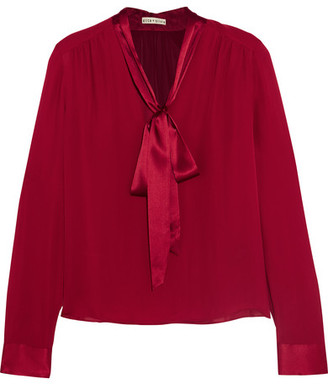 Alice + Olivia - Irma Pussy-bow Silk-georgette Blouse - Claret $295 thestylecure.com